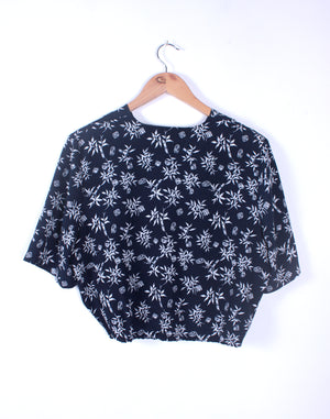 Navy Ditsy Floral Crop Blouse