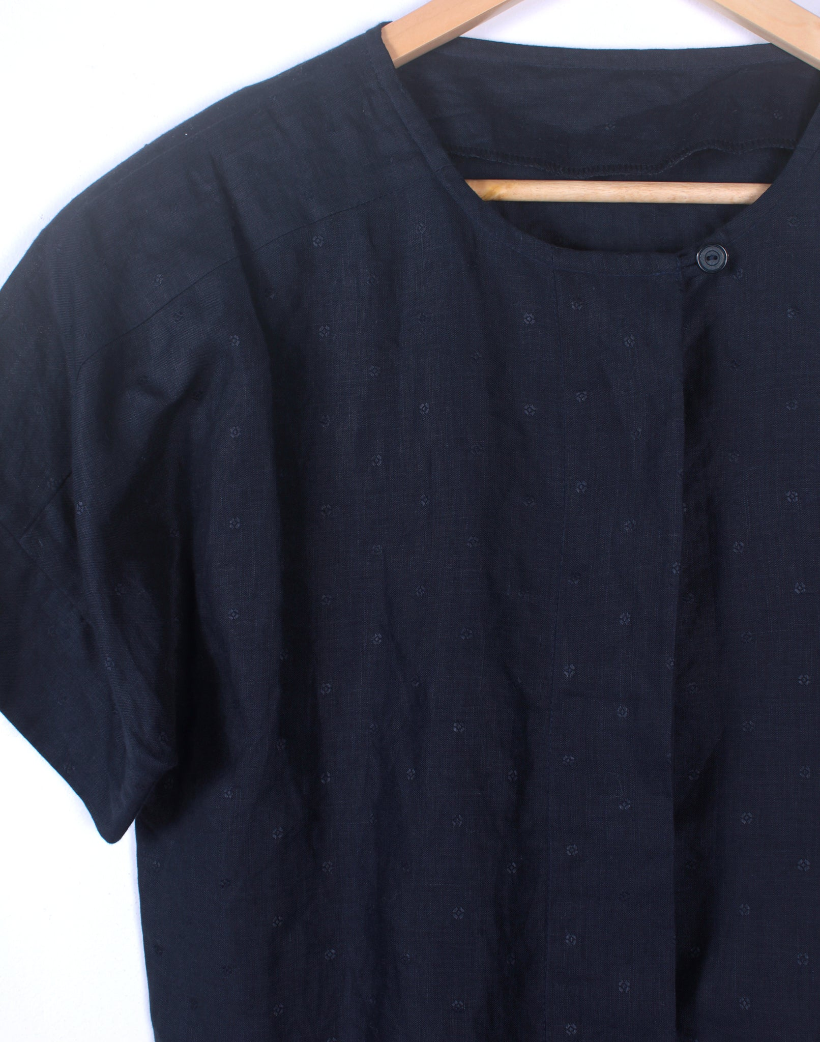 Vintage Navy Linen Cropped Shirt