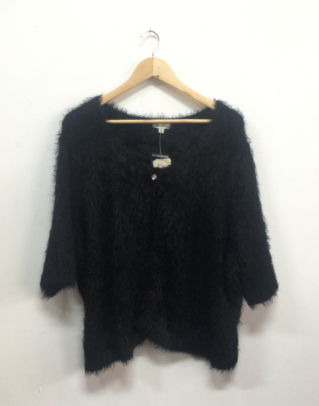 Black Eyelash Yarn Fluffy Cardigan