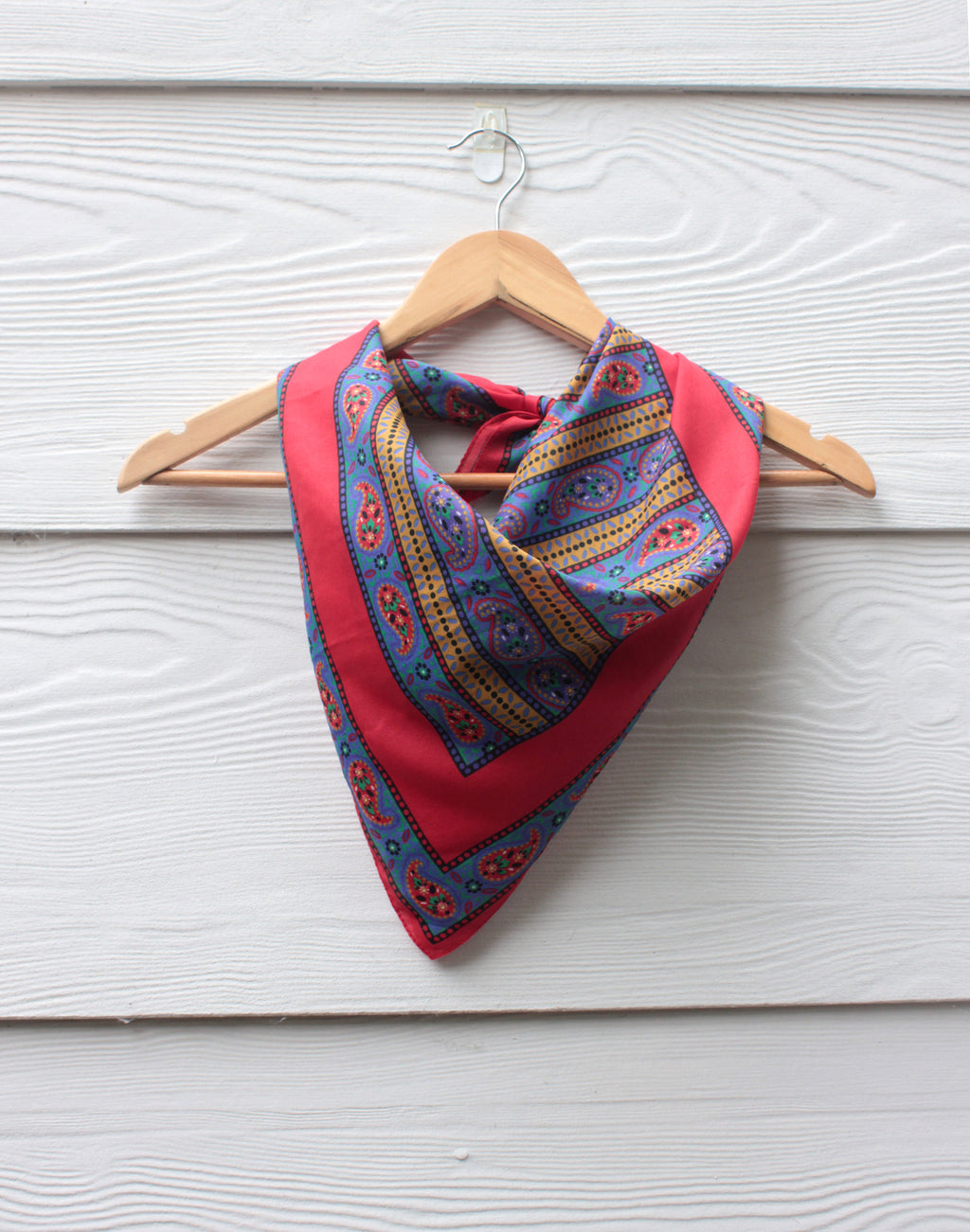 Red and Blue Floral Retro Vintage Scarf