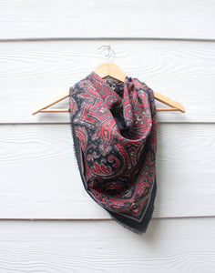 Red and Black Paisley Vintage Scarf
