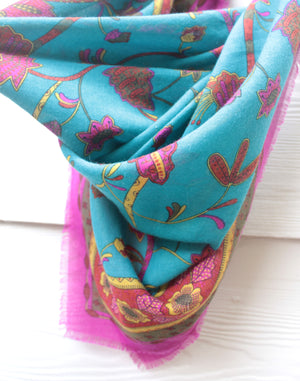 Large Pink and Blue Vintage Scarf