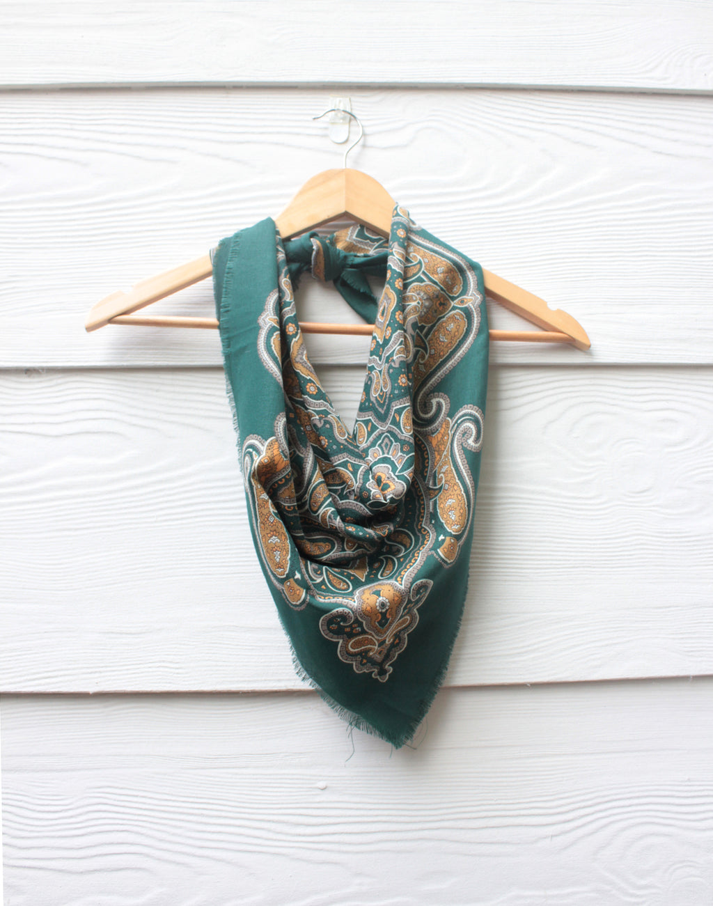 Green and Mustard Paisley Vintage Scarf