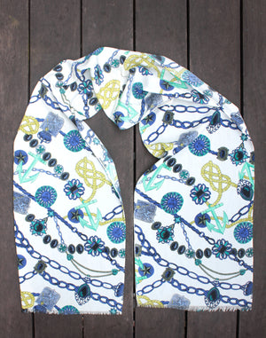 Nautical Blue and White Long Vintage Scarf