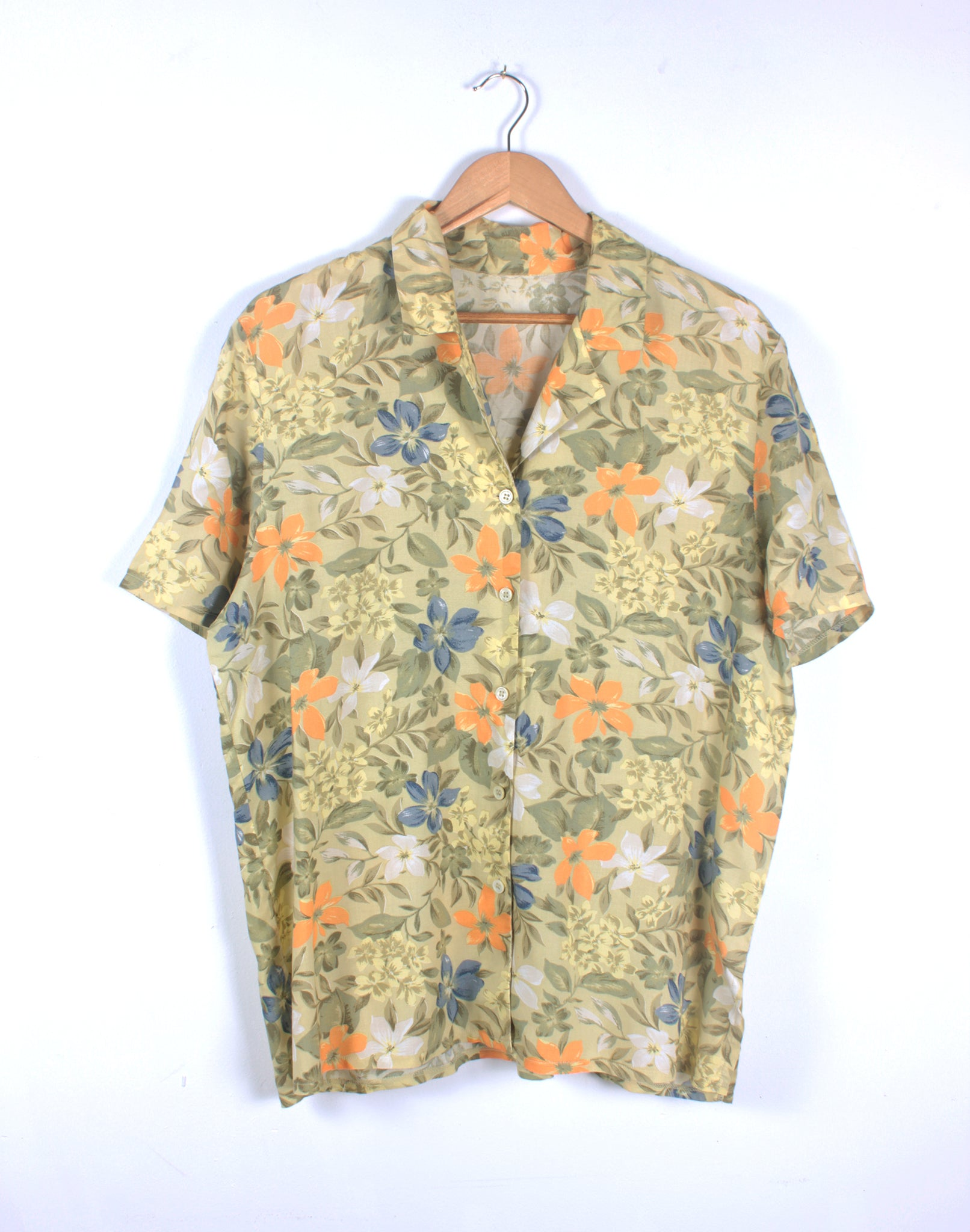Vintage 90's Oversize Green Orange Floral Shirt
