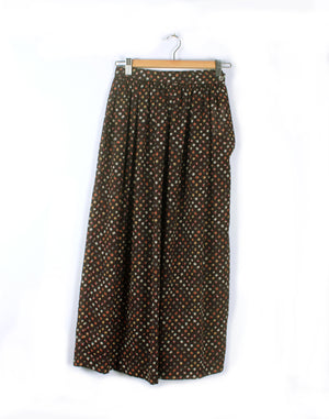 Vintage 70's Brown Ditsy Floral Prairie Long Skirt