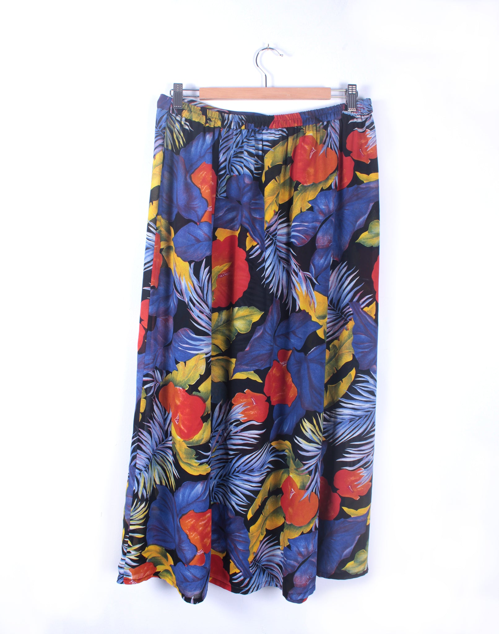 Vintage 80's Bright Red Blue Tropical Long Skirt