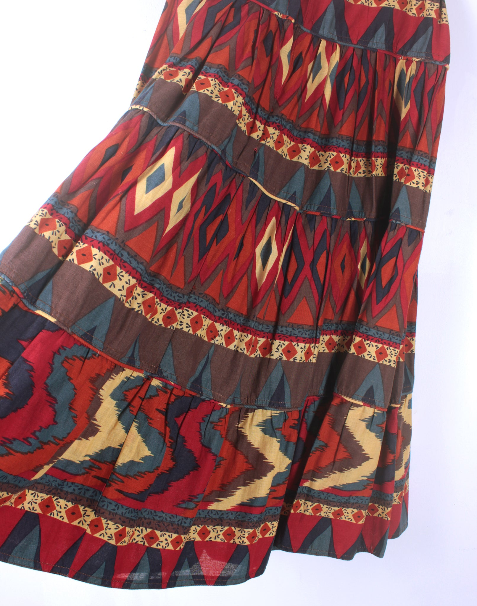 Vintage 80's Bright Red Blue Cotton Tiered Prairie Skirt