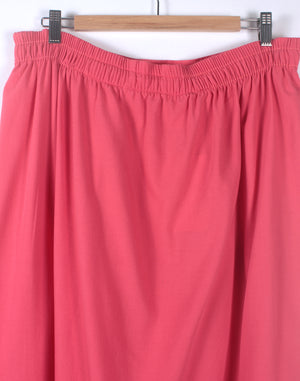 Vintage 80's Coral Pink Midi Button Skirt