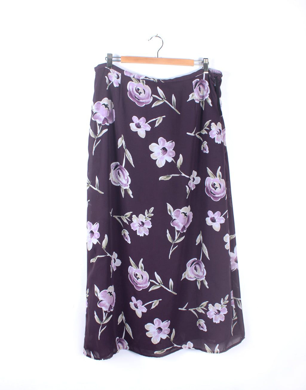 Vintage 90's Purple Floral Long Skirt