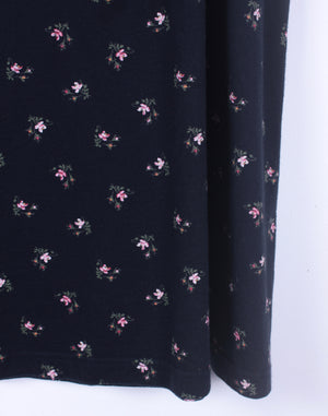 Vintage 90's Laura Ashley Navy Floral Jersey Skirt