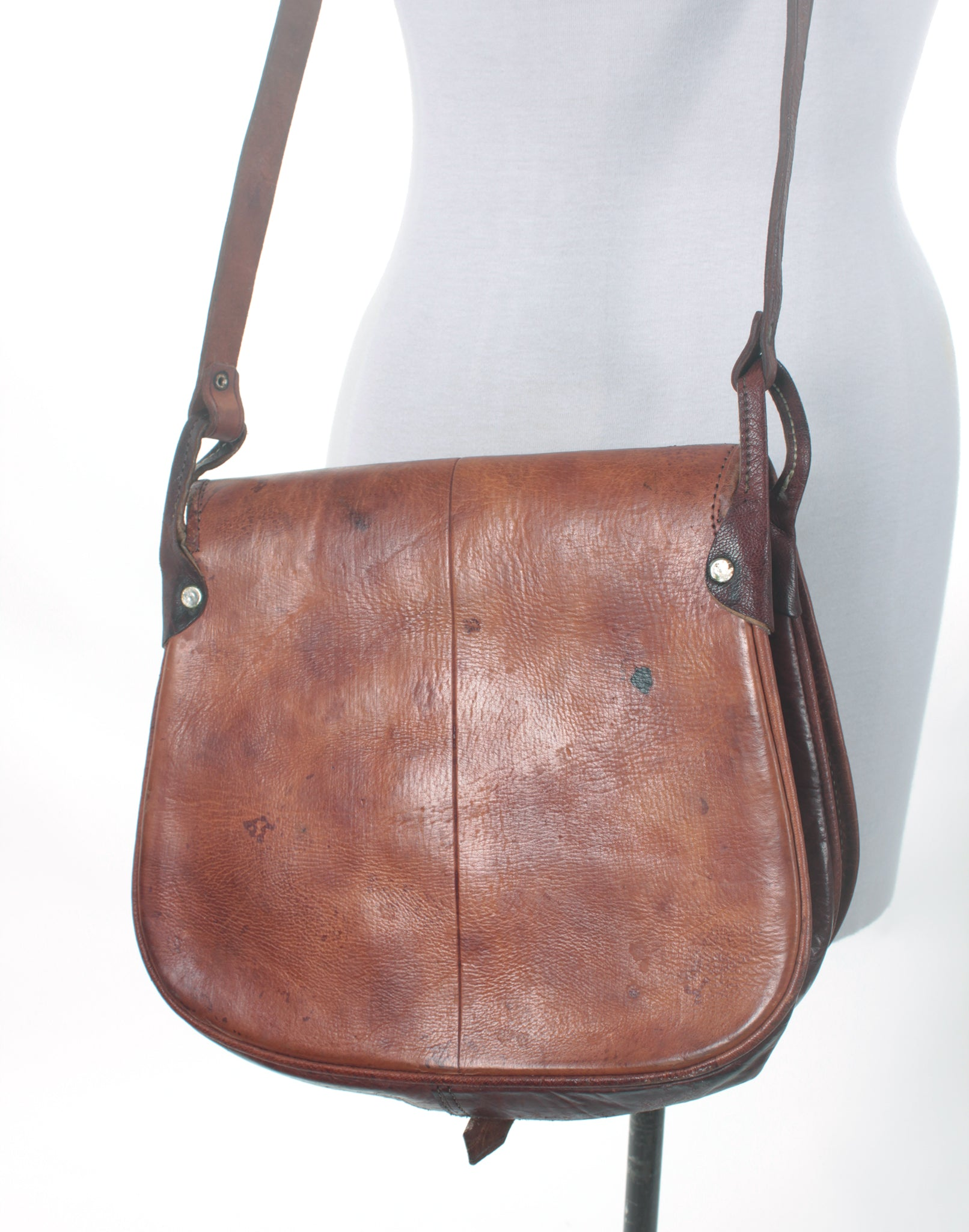 Vintage 70's Tooled Leather Crossbody Bag