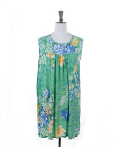 Vintage 60's Green Yellow Floral Housecoat Dress