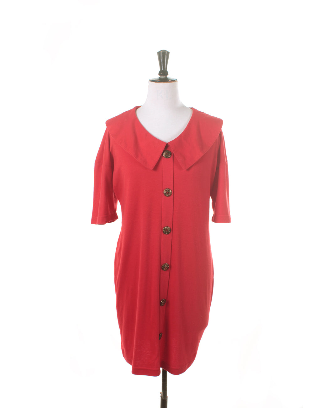 Vintage 80's Smartline Red Jersey Collar Button Dress