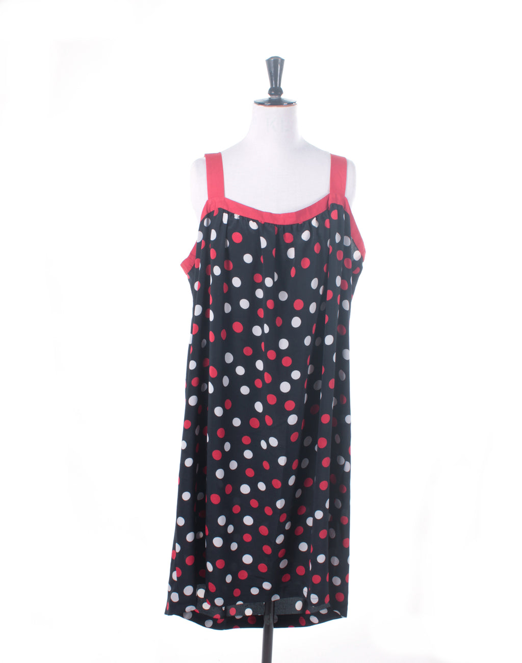 Vintage 80's Navy Red White Big Spot Dress