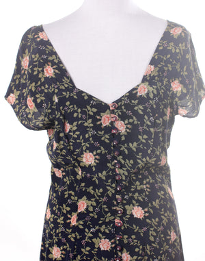 Vintage 90's Green Navy Floral Button Dress