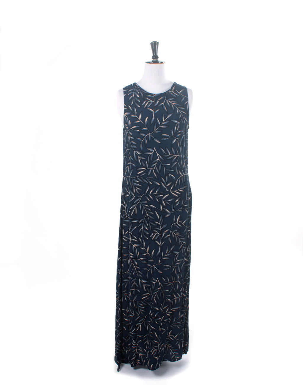 Vintage 90's Michael Renn Navy Leaf Maxi Dress