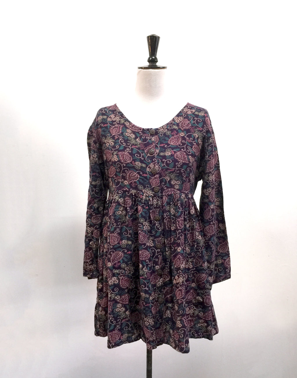 Vintage 90's Purple Floral Gathered Dress