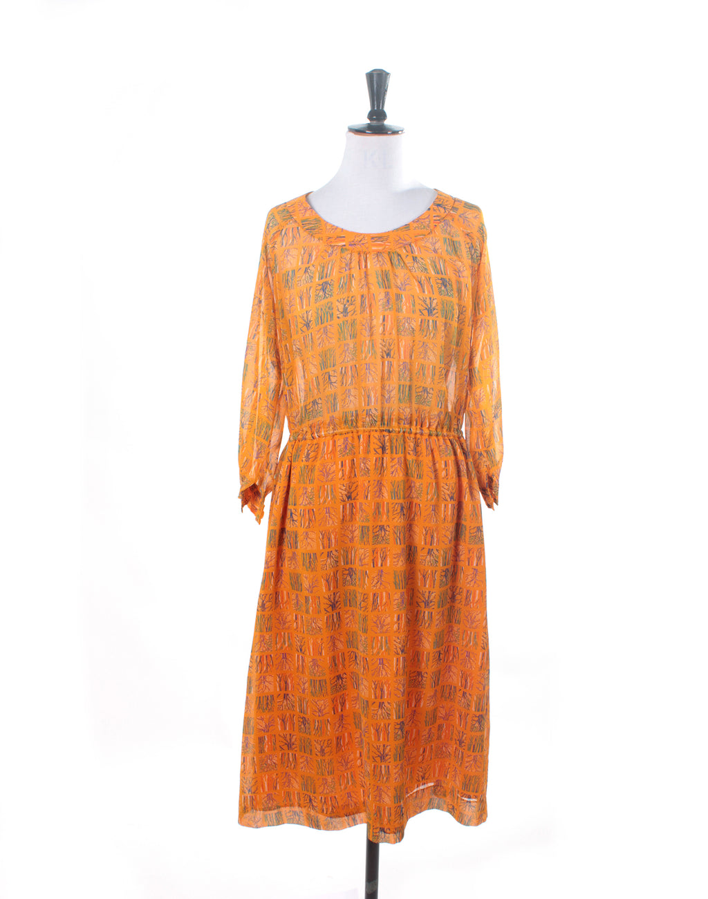 Vintage 80's Yellow Tree Print Chiffon Dress
