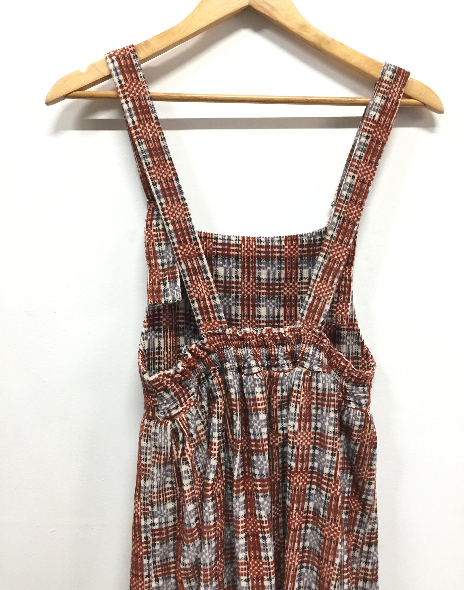 Vintage 70's Velvet Tartan Pinafore Dress
