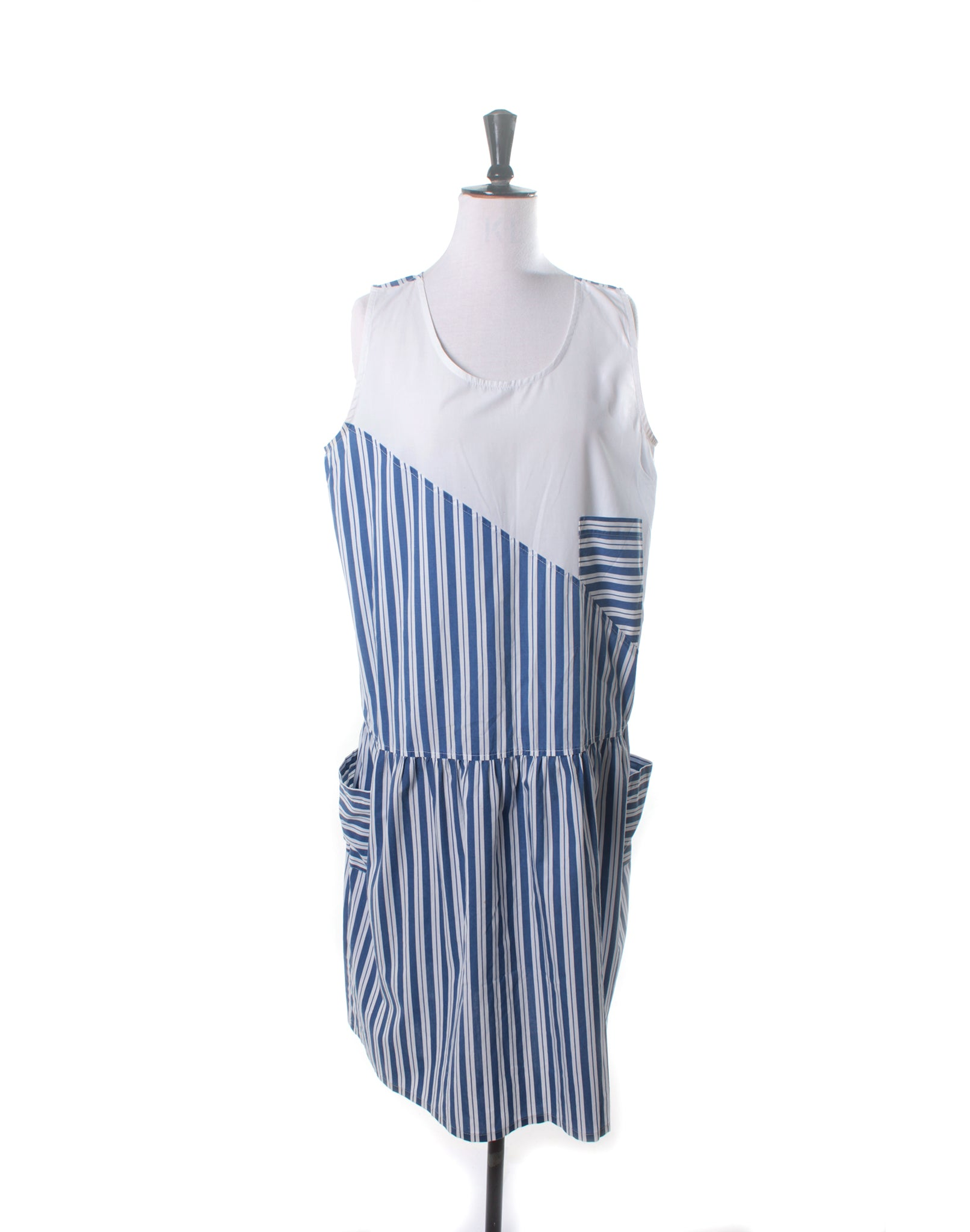 Vintage 80's Blue Stripe Drop Waist Pocket Dress