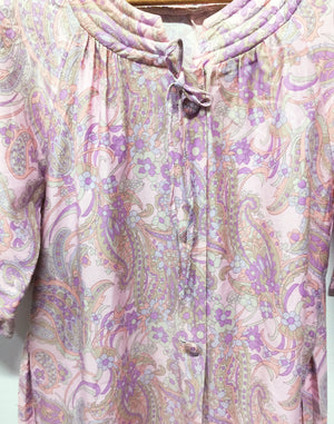 Vintage 60's Pink Floral Housecoat Button Dress