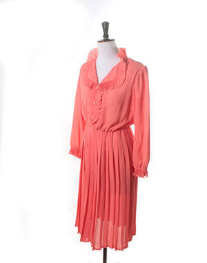 Vintage 70's Peach Pleated Poly Frill Dress