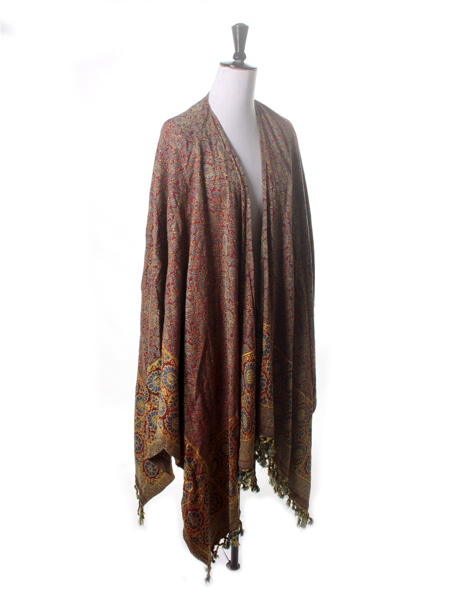 Large Vintage Boho Brocade Shawl Wrap