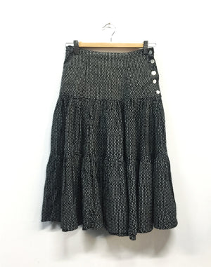 Black Polka Dot Midi Skirt