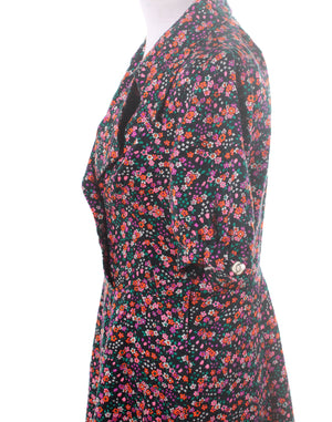 Vintage 60's 70's Pink Black Floral Mini Dress