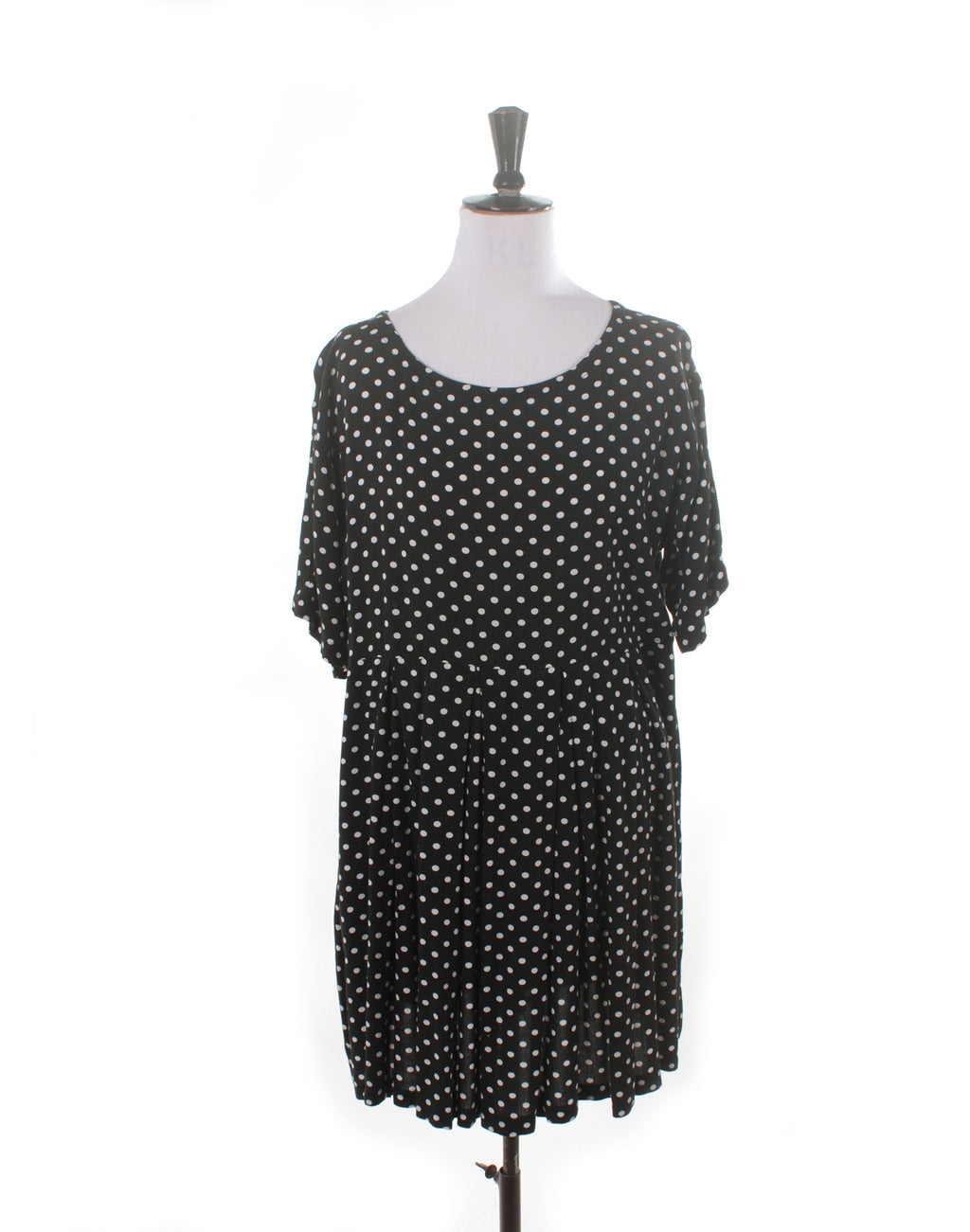 Vintage 90's Black Polka Dot Gathered Dress