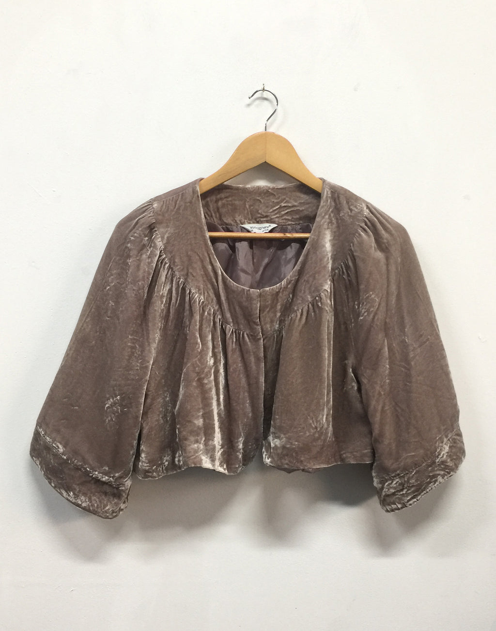 Blush Pinky Brown Velvet Crop Jacket