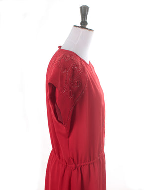 Vintage 80's Red Shoulder Sparkle Dress