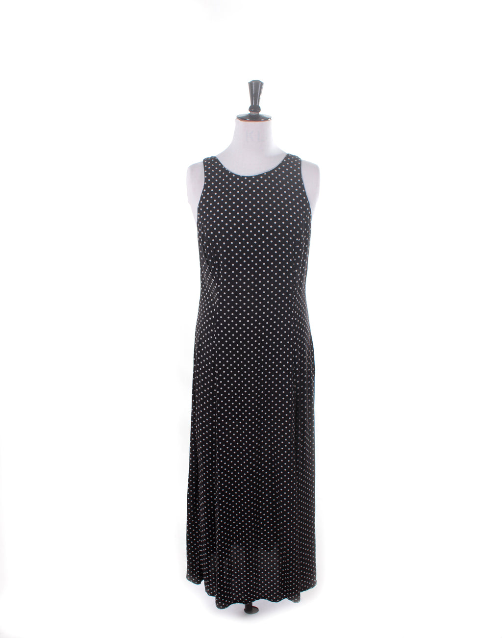 Vintage 90's Equipment Black Polka Dot Maxi Dress