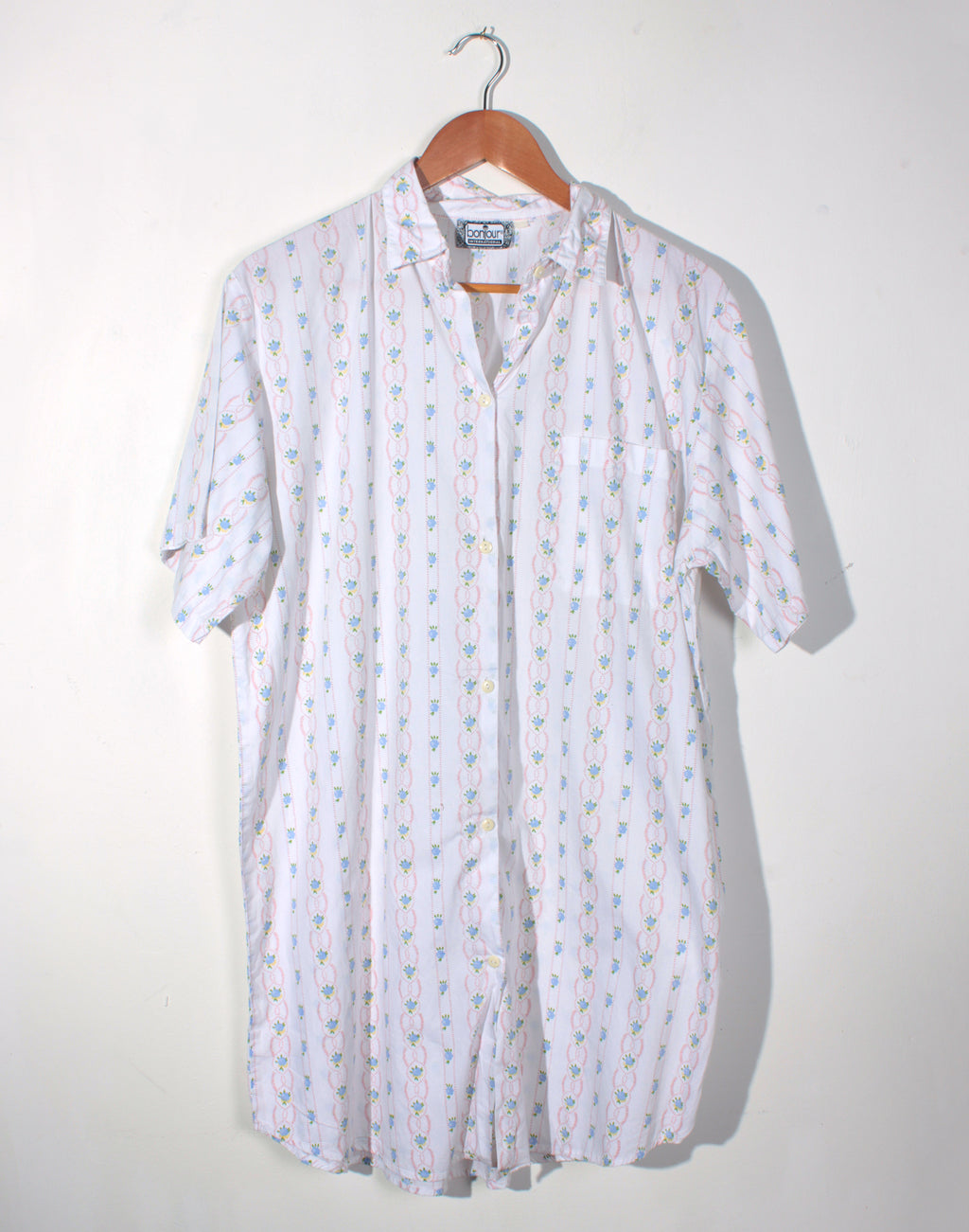 Vintage 80's Pale Floral Long Shirt