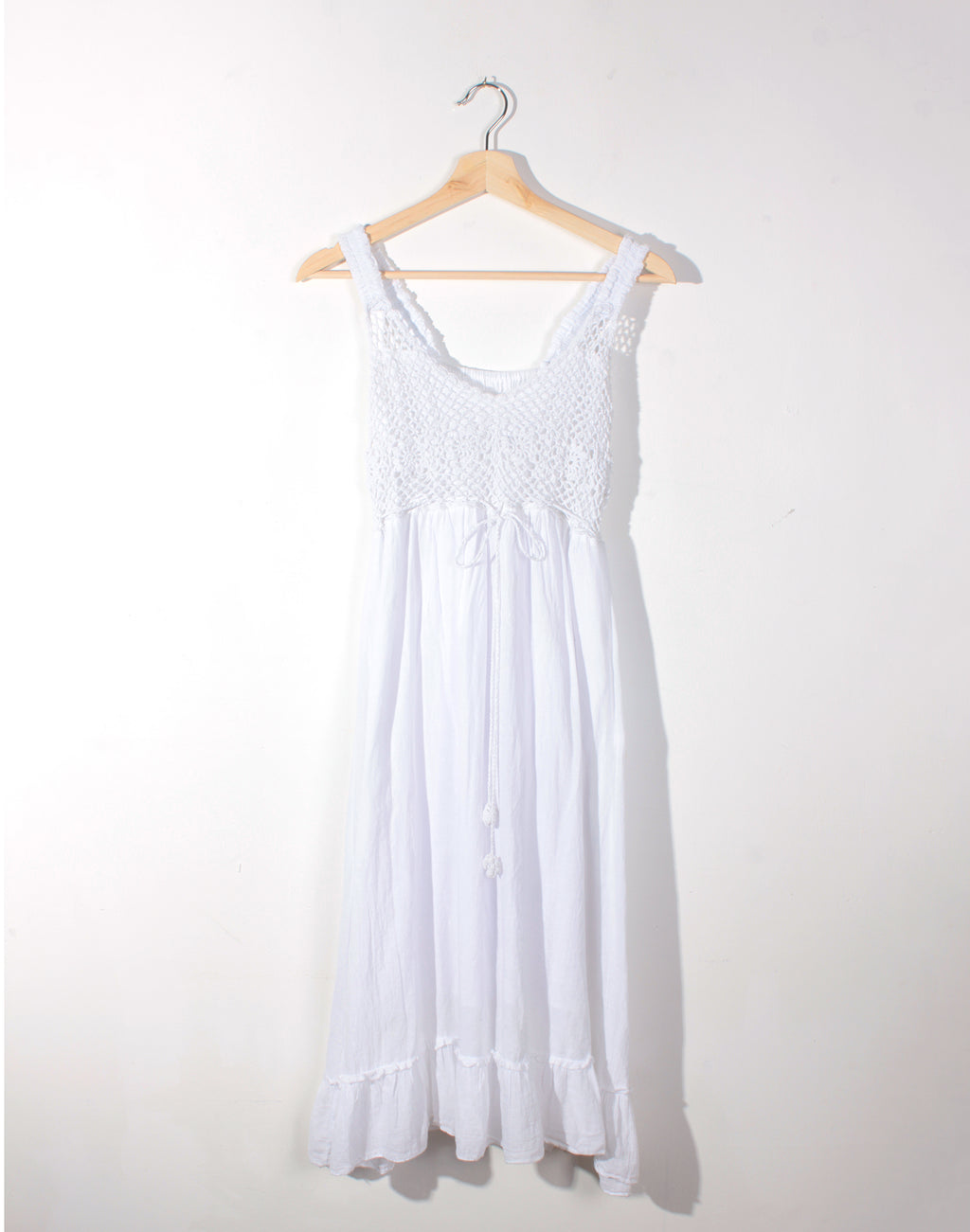 Vintage 90's White Crochet Detail Dress