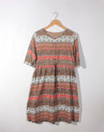Boho Printed Cotton Drawstring Dress