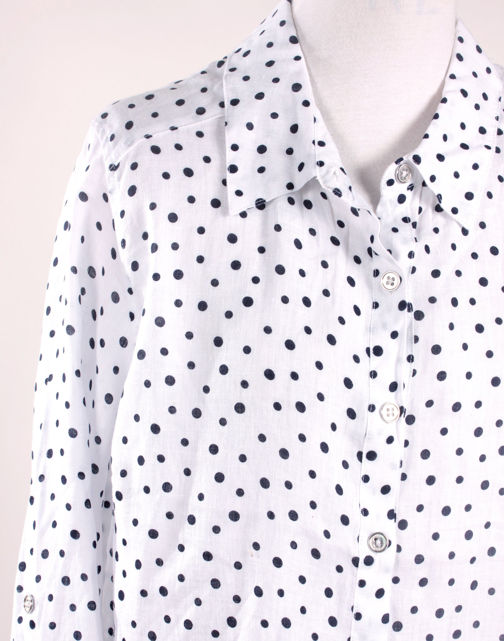 Navy White Polka Dot Linen Shirt