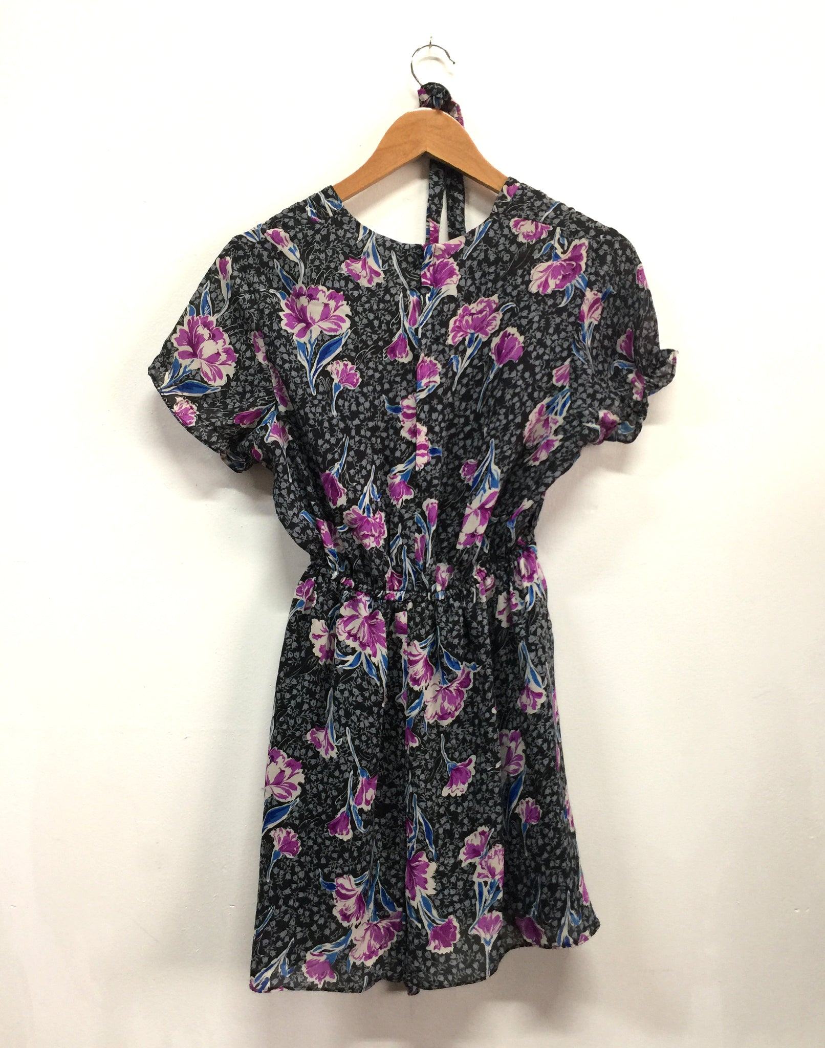 Vintage Upcycled Grey Pink Floral Mini Dress