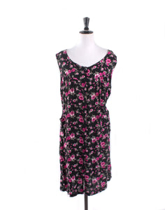 Vintage 90's Pink Black Floral Tunic Dress