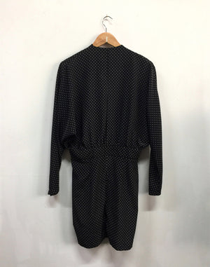 Vintage 80's Black Polka Dot Frill Dress
