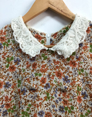 Vintage 80's Pale Floral Lace Collar Dress