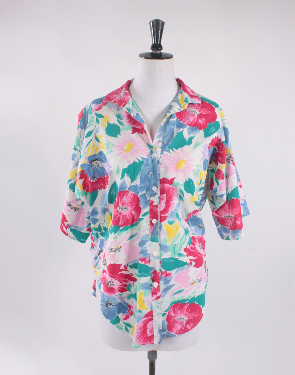 Bright Floral Vintage 80's Collars & Cuffs Shirt