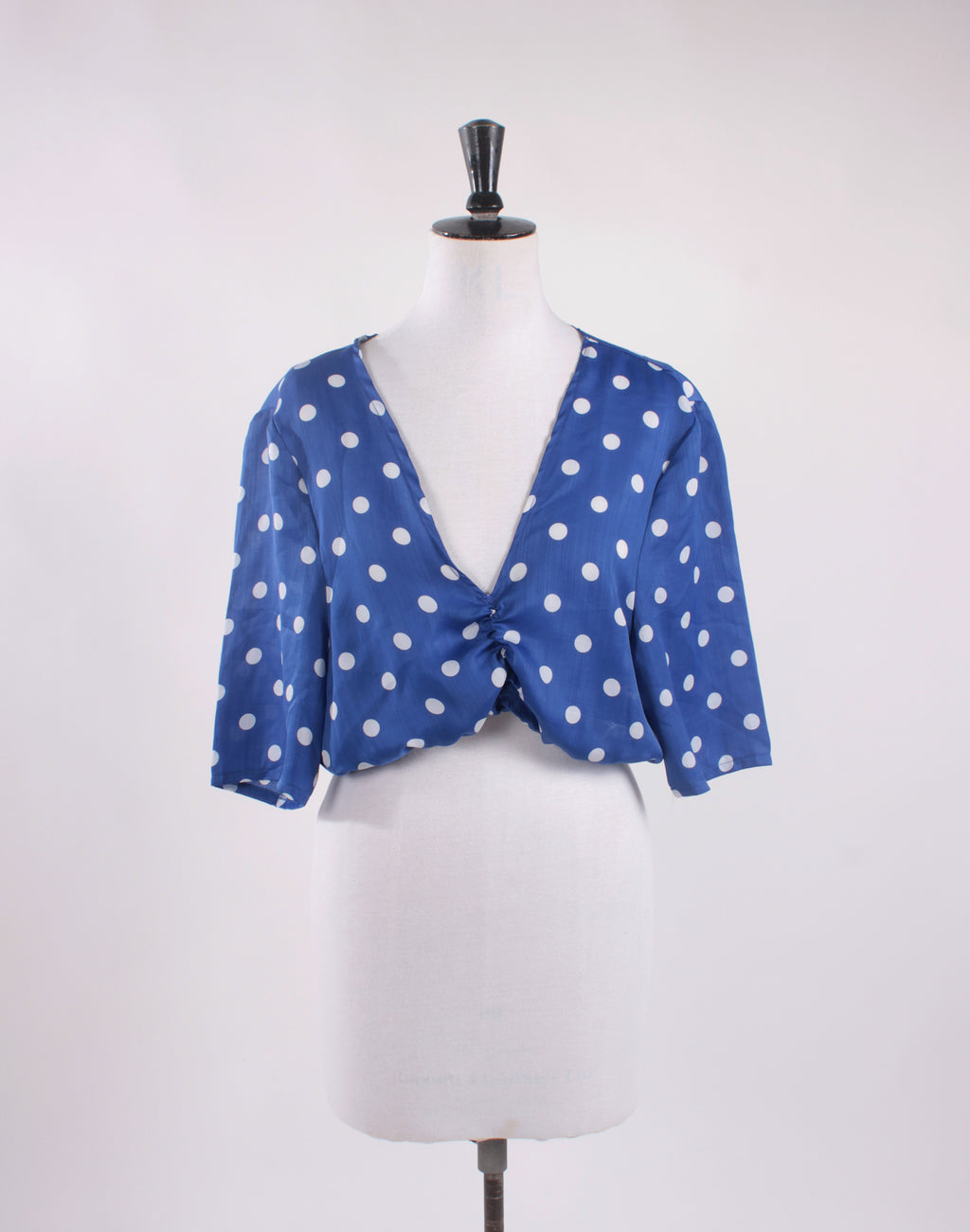Blue Polka Crop Blouse