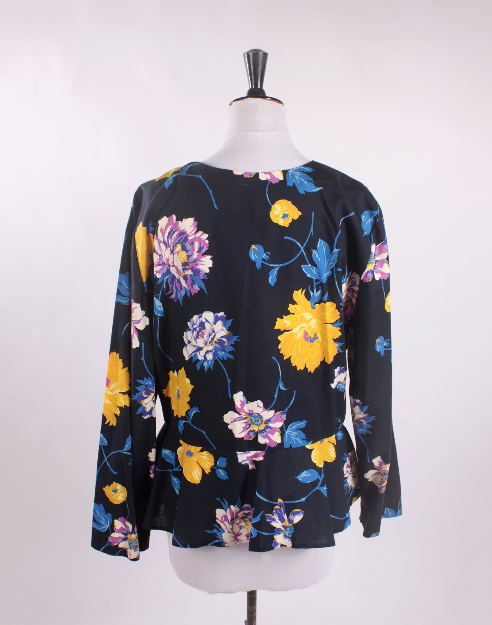 Bright Yellow and Black Floral Peplum Shirt Jacket