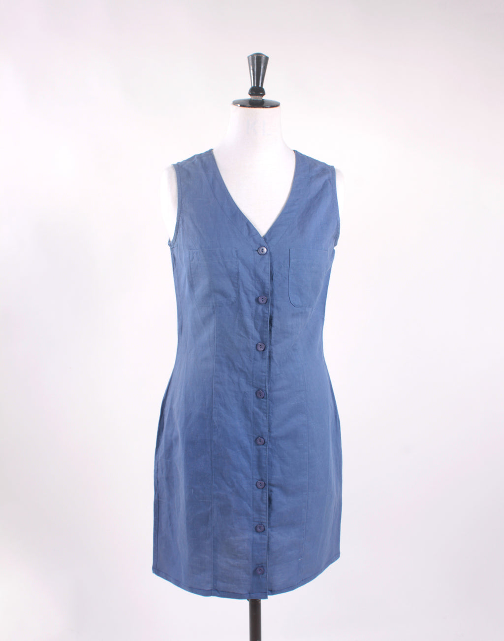 Vintage 90's Blue Linen Button Up Shift Dress