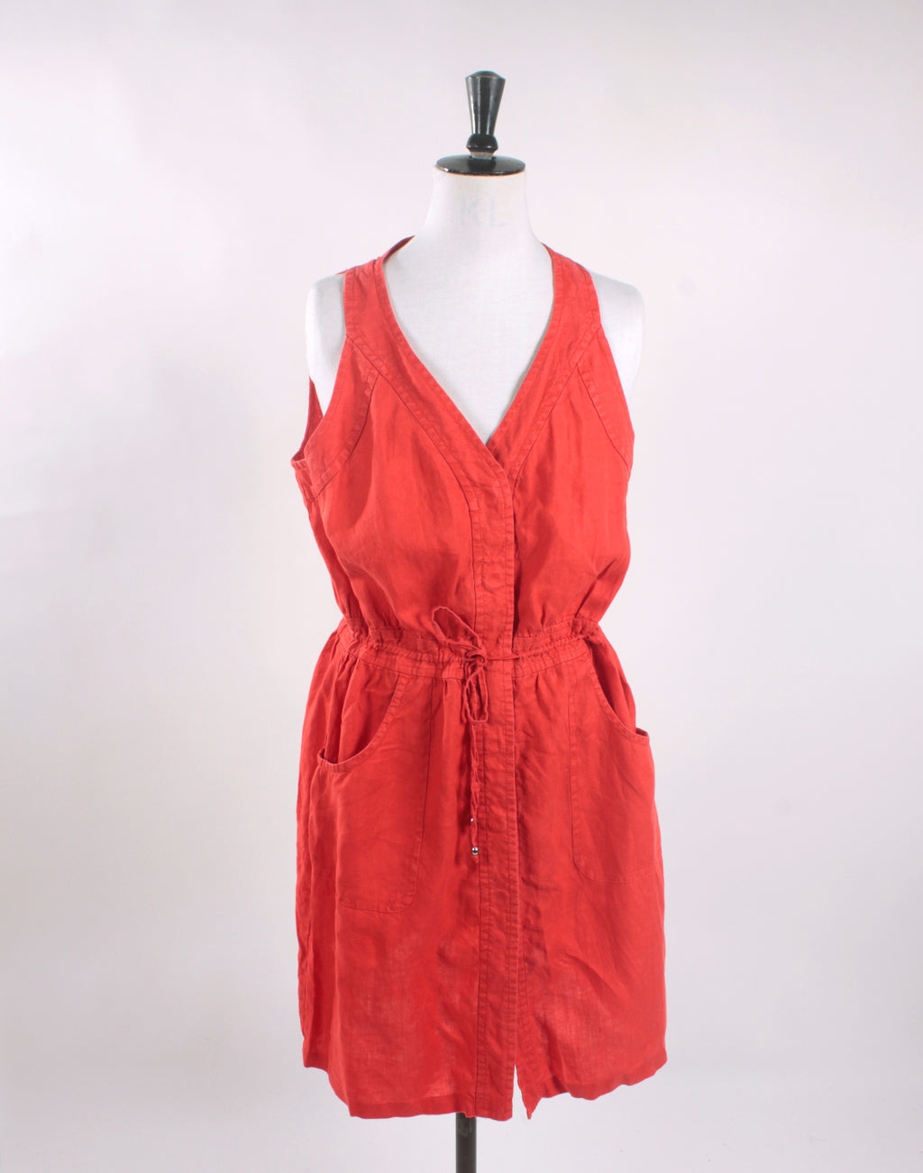 Orange Linen Drawstring Shift Dress