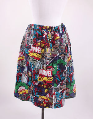 Handmade Red Black Marvel Comics Skirt