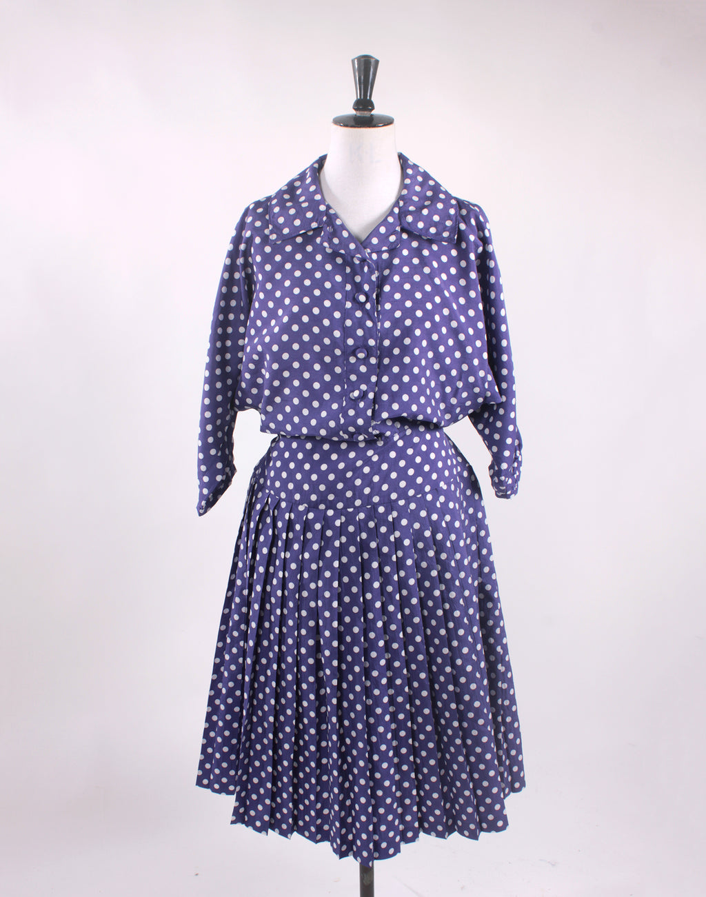Vintage 80's Purple Polka Dot Pleated Skirt Dress