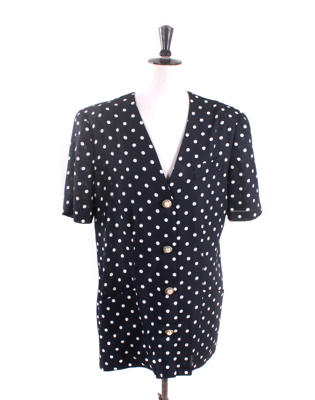 Dolina Black Polka Dot Shirt Jacket